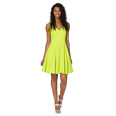 Red Herring - Lime flared crepe dress