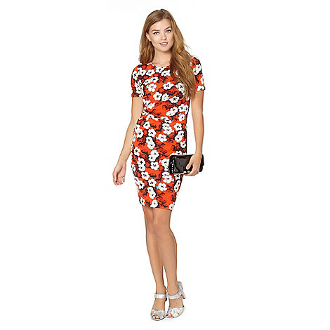 Red Herring - Orange floral wrap dress