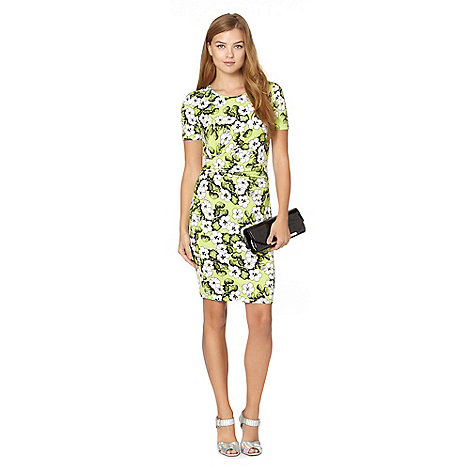 Red Herring - Lime floral wrap dress