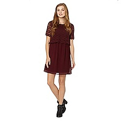 Red Herring - Maroon lace crochet layer dress