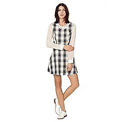 Red Herring - Grey checked embellished collar pinafore dress