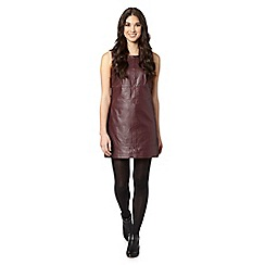Red Herring - Wine leather shift dress