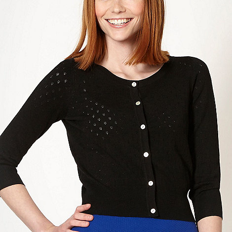 Red Herring - Black pointelle knitted crop cardigan
