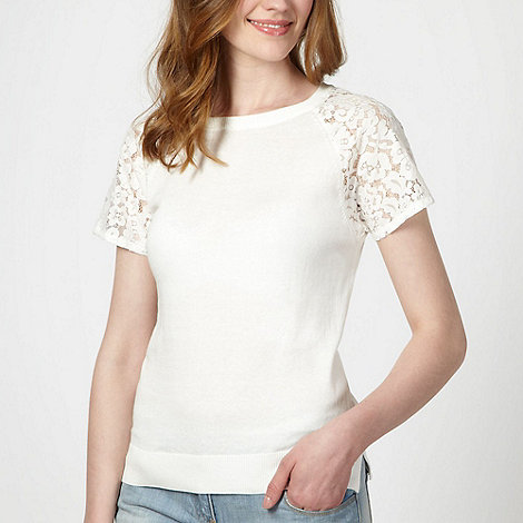 Red Herring - Ivory lace sleeve jumper