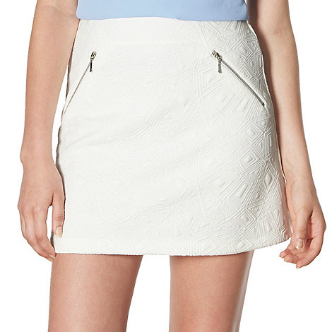 Red Herring - White jacquard zip detail skirt