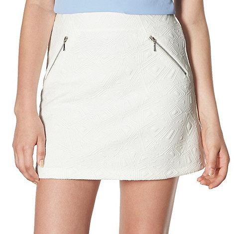 Red Herring - White jacquard zip detail skirt