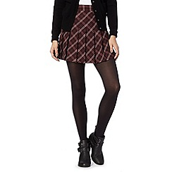Red Herring - Wine checked pleat skirt