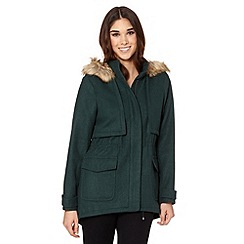 Red Herring - Green faux fur trim hood parka coat