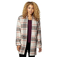 Red Herring - Pink and grey checked collarless coat