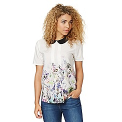 Red Herring - Ivory floral peter pan top