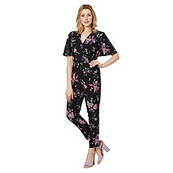 Red Herring - Black floral wrap jumpsuit