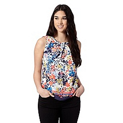 Red Herring - Navy floral border print top