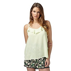 Red Herring - Pale yellow ruffle front cami