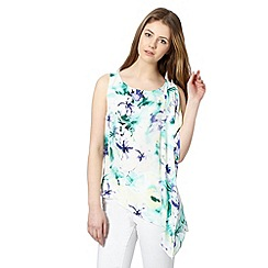 Red Herring - White floral asymmetric top
