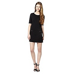 Red Herring - Black textured zip shift dress