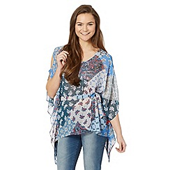 Red Herring - Blue chiffon print top