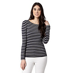 Red Herring - Navy long sleeved striped top