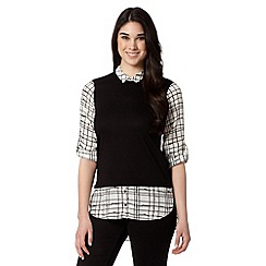 Red Herring - Black checked 2-in-1 blouse