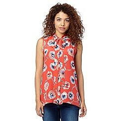 Red Herring - Peach floral pussybow blouse
