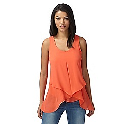Red Herring - Coral asymmetric drape front top