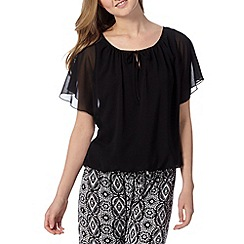 Red Herring - Black bubble hem gypsy top