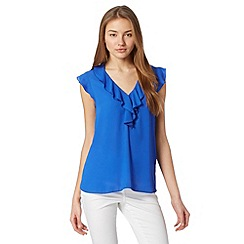 Red Herring - Blue ruffle front top