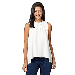 Red Herring - Ivory asymmetric high neck top