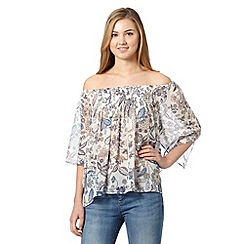 Red Herring - Ivory floral shirred gypsy top