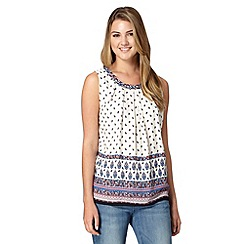 Red Herring - White floral print pleat top