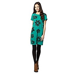 Red Herring - Green petal print crepe dress