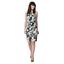 Red Herring - Black botanical print structured shift dress