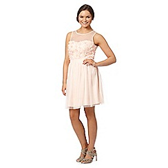 Instaglam by Red Herring - Light pink cutwork flower prom dress
