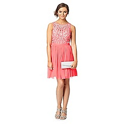 Instaglam by Red Herring - Peach sequin mesh dress