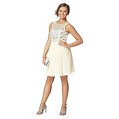 Instaglam by Red Herring - Pale yellow sequin mesh dress