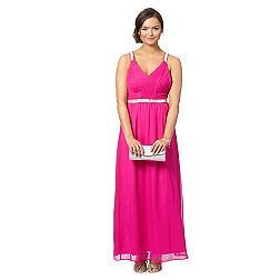 Pink embellished strap ruched bodice maxi dress