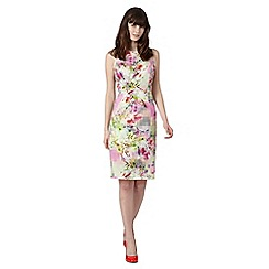 Red Herring - Lime digital floral and pixel structured shift dress