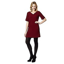 Red Herring - Wine crepe V neck dress