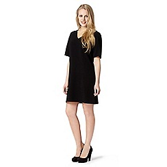 Red Herring - Black crepe V neck dress