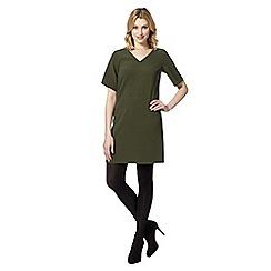 Red Herring - Olive crepe V neck dress