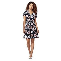 Red Herring - Navy poppy print dress