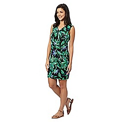 Red Herring - Black leaf print V neck dress