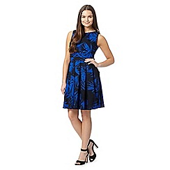 Red Herring - Blue palm leaf print prom dress