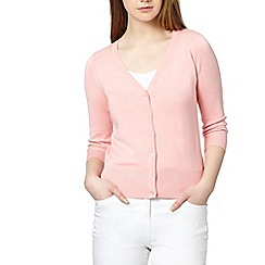Red Herring - Light peach ribbed V neck cardigan