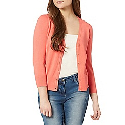 Red Herring - Coral rib stitch cardigan