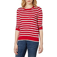 Red Herring - Dark pink pointelle striped jumper