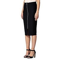 Red Herring - Black ribbed front zip tube skirt