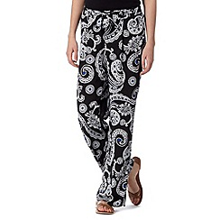 Red Herring - Black paisley print wide leg trousers