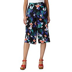 Red Herring - Black hibiscus print culottes
