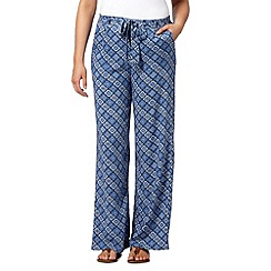 Red Herring - Blue wide leg tile print trousers