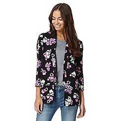 Red Herring - Black pansy print crepe jacket